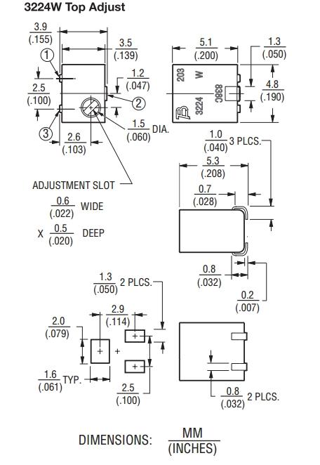 伯恩斯3224W电位器尺寸图