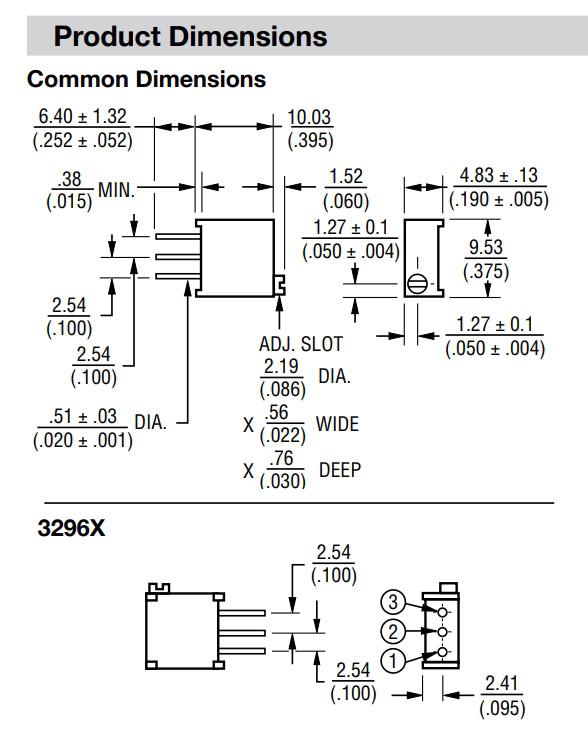 3296X多转式电位器尺寸图