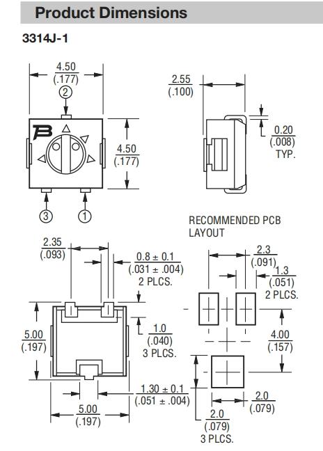 伯恩斯3314J电位器尺寸图