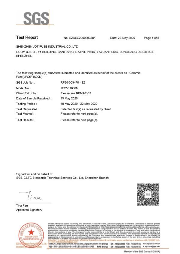 陶瓷保险管SGS